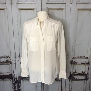 J. CREW silk white buttondown blouse long sleeve 4